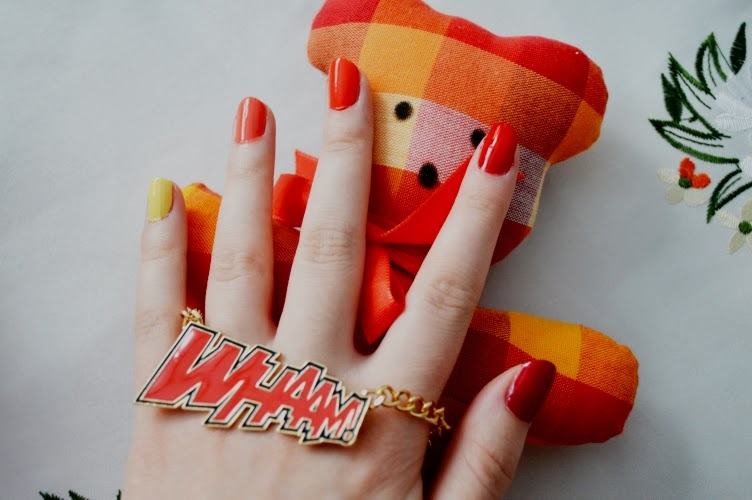 manicure, red, orange, yellow, nails, nail polish, comic, whaam