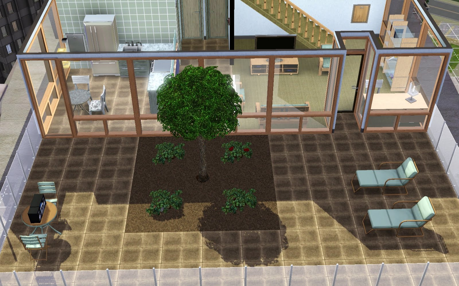 Summer 39 s little sims 3 garden how to build a rooftop or for Sims 4 balcony