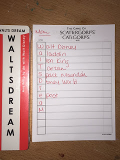 Example: Walt's Dream: A Scattergories Category Game Card