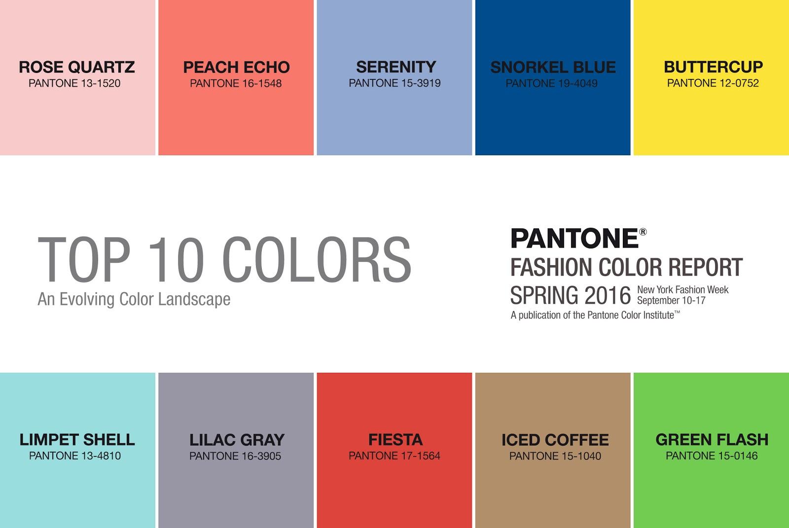 Muna 39 s coolture pantone top ten colors ss 2016 color of for Pantone paint colors