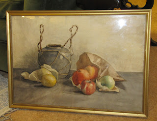 1930s 1930's vintage still life watercolor of vase, apples, oranges, fruit, signed G.O. Palmer 1930