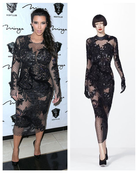 a filha do chefe kim kardashian ano novo vestido bordado Julien MacDonald