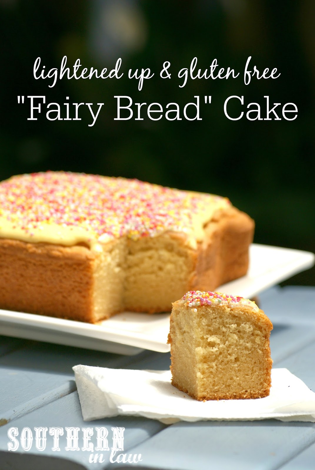 Gluten Free Fairy Bread Cake Recipe - Low Fat Butter Cake Recipe - Lower fat, lower sugar, gluten free, kid friendly, healthy kids party recipes, cake recipes