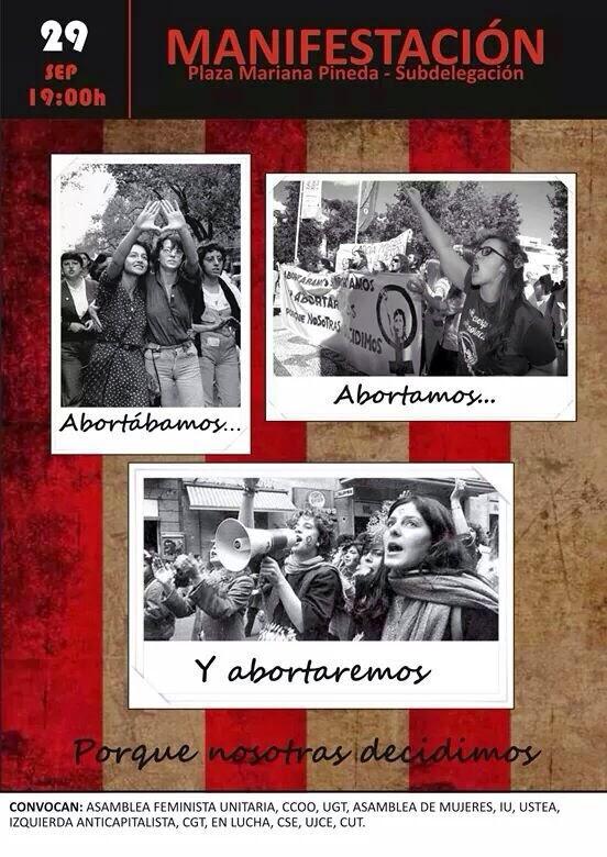 29 SEPT a las 19h desde Pza Mariana Pineda: Manifestación en defensa del derecho al aborto