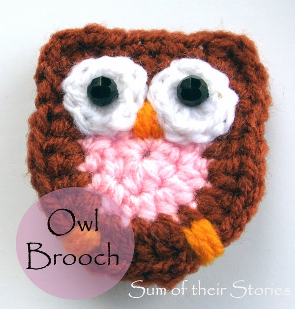 Crocheted Owl Brooch