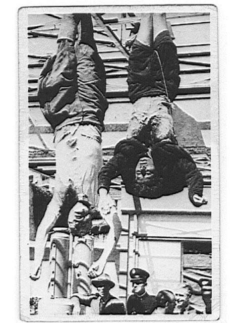 Mussolini e Clara Petacci enforcados