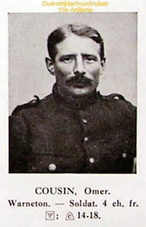 Oud-strijder/vuurkruiser Omer Cousin 1890-1991. Foto uit het Guldenboek der Vuurkaart.