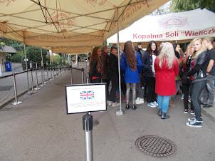 "First tourists at ""WIELICZKA SALT MINE"" entrance gate."