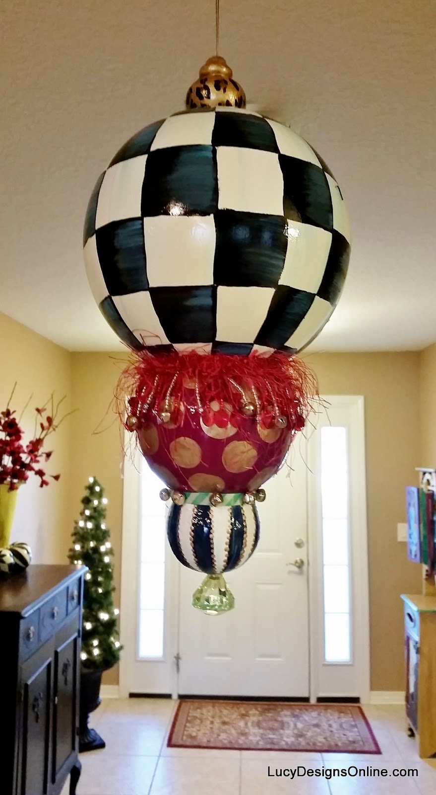 Hand Painted Christmas Ornaments, Black And White Checks, Stripes,  Harlequin Designs And A Giant Kissing Ball