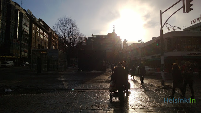 Snow while the sun shines in Helsinki