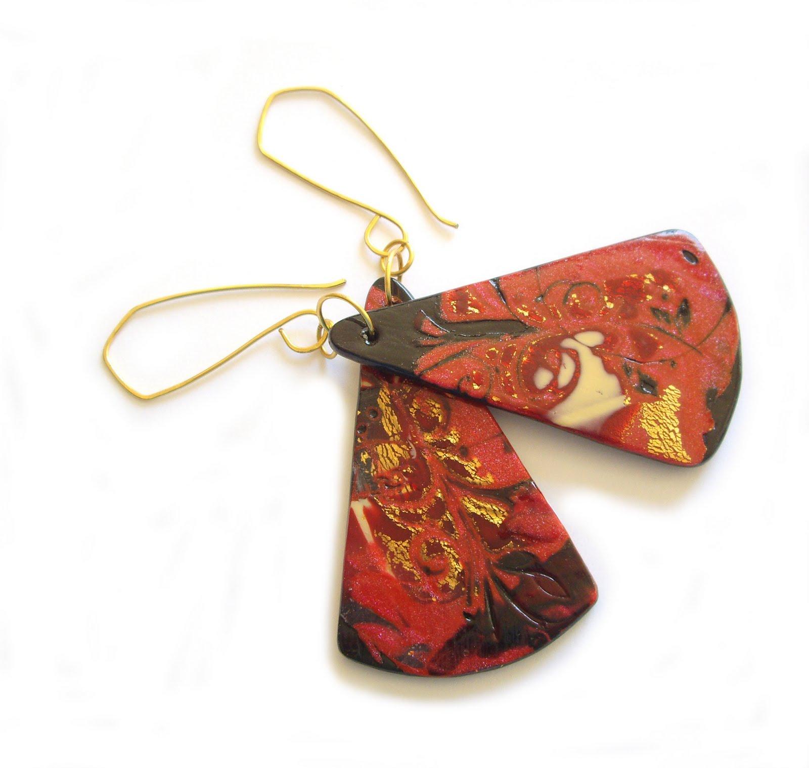 Mokume Gane Earrings: Dedabl: Mokume Gane Earrings Polymer Clay