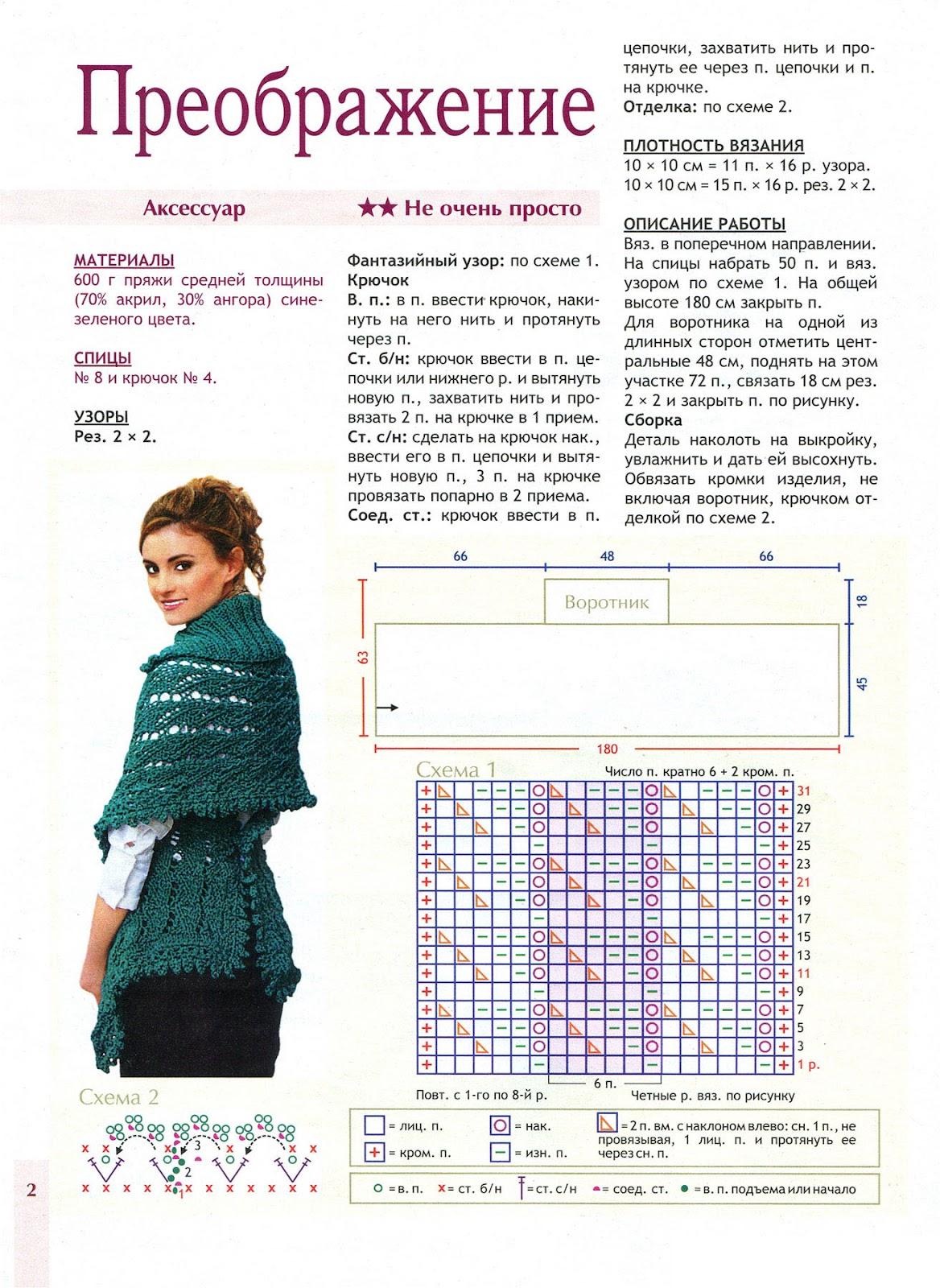 Жилет-шарф спицами схемы и описание