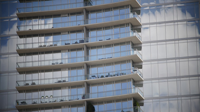 public domain picture of a balconies of a glass building