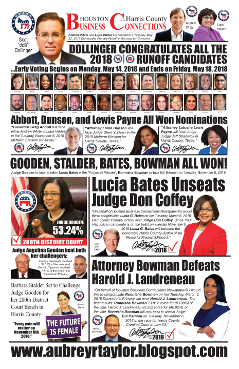 PAGE 1 - HOUSTON BUSINESS CONNECTIONS NEWSPAPER RUNOFF ELECTION BRANDING SUPPLEMENT