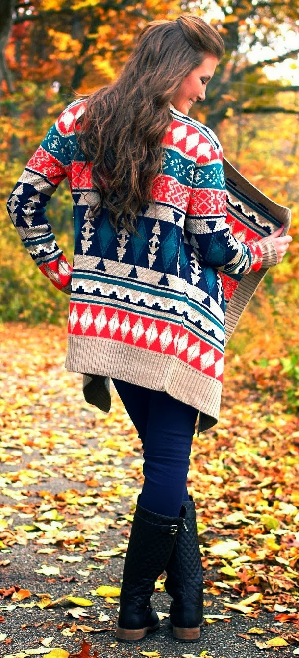 Amazing Colorful Cardigan and Long Boots