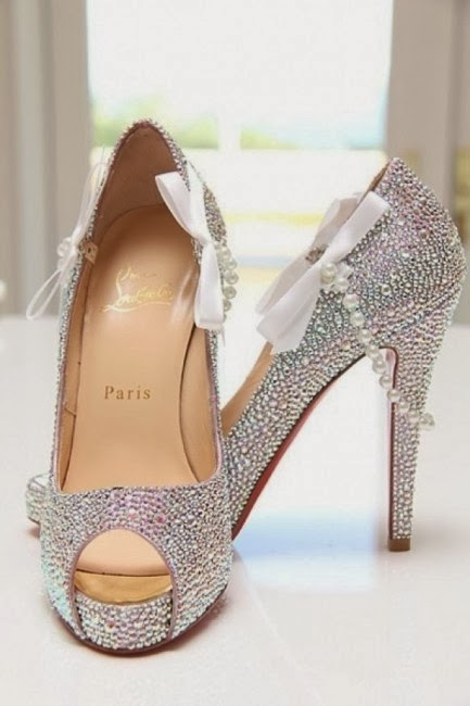Charming Silver High Heel Wedding Shoes with Shiny Gems