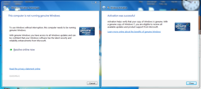 Windows 7 genuine sukses