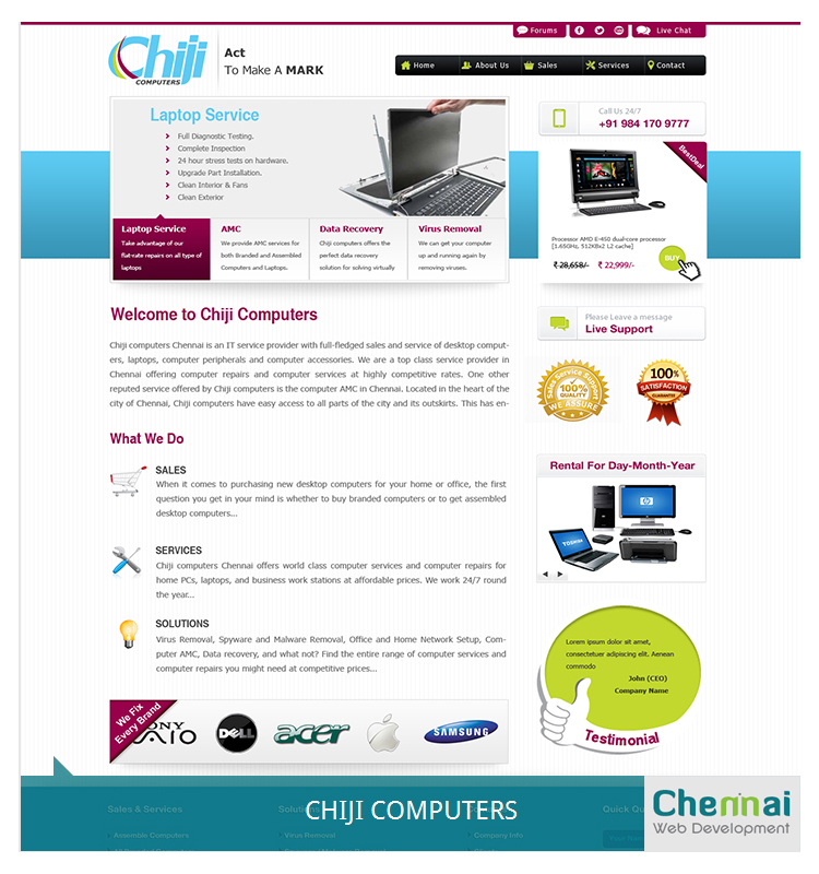 Computer Sales and Service Website Template Design - Chennai Web ...