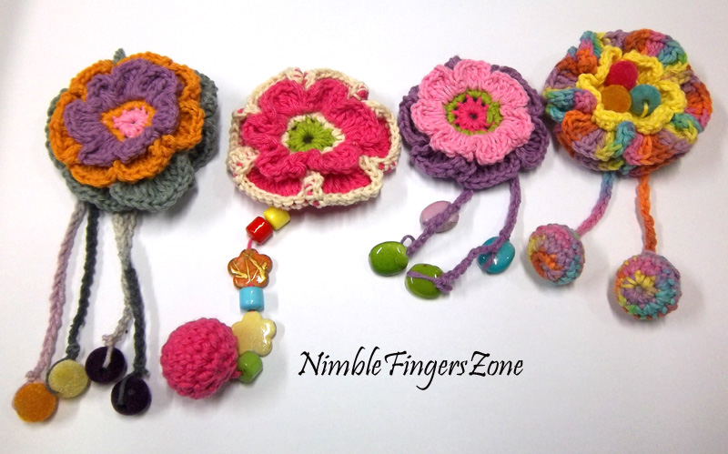 Crochet flower brooches with tail nimble fingers zone