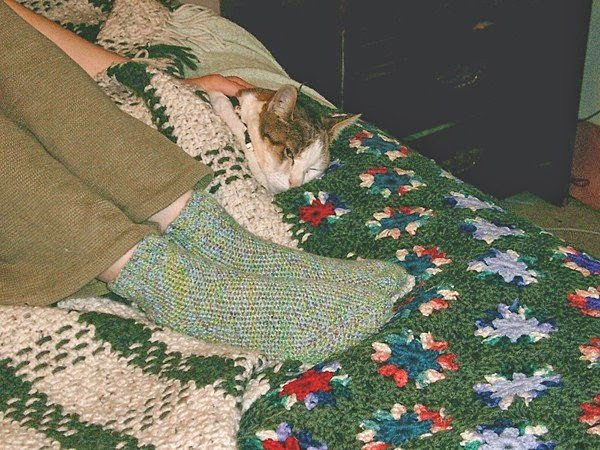 Cat tucked beneath a blanket with only her head visible, next to a pair of feet encased in hand-crocheted socks