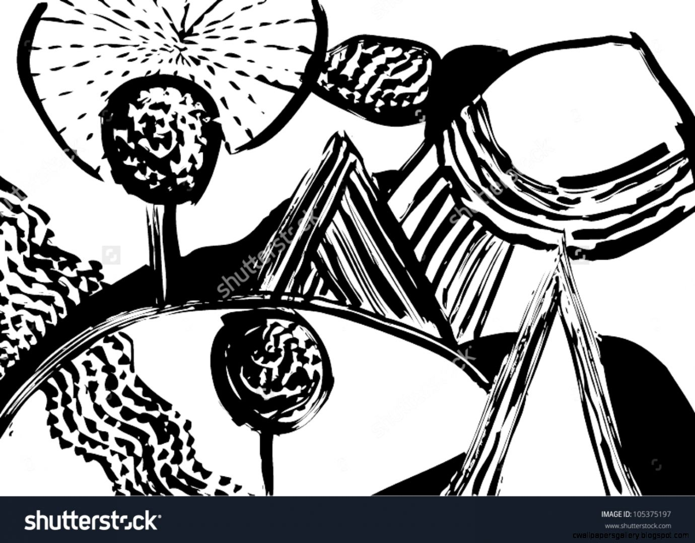 A Vector Illustration Of An Abstract Black And White Nature