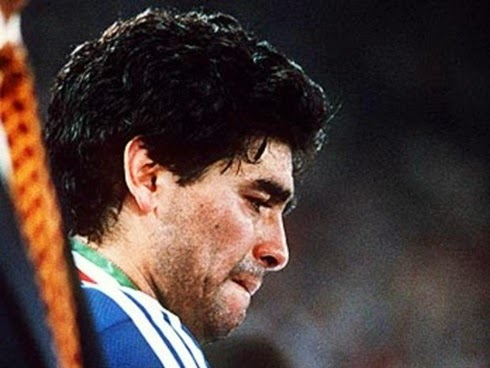 Diego Maradona desolado no final da copa do mundo 1990