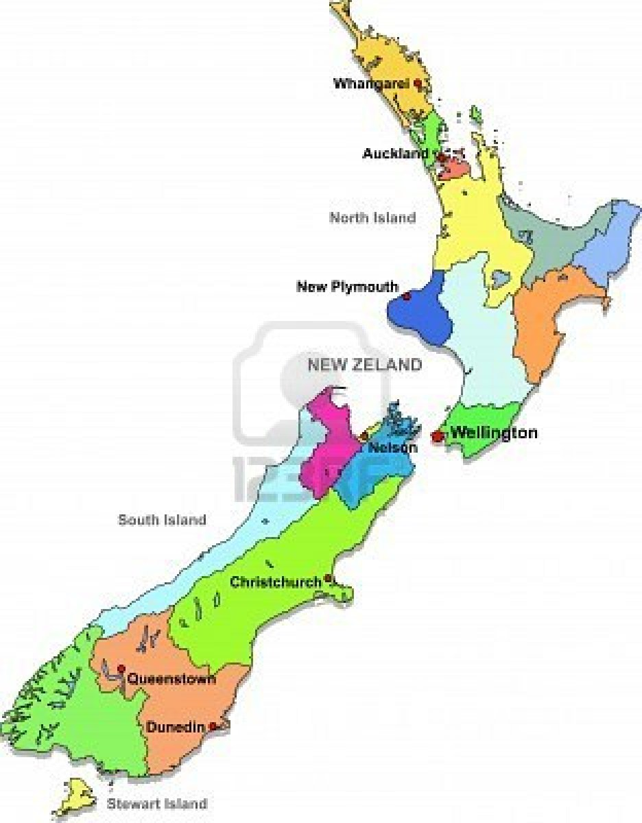 Political Map of New Zealand Political Map of New Zealand