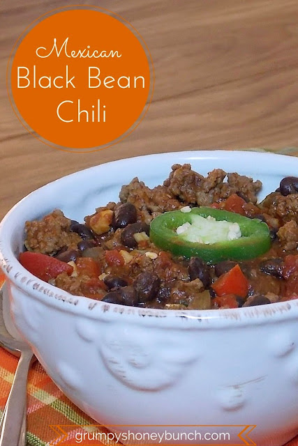 Mexican Black Bean Chili #beef #chili #mexican #chipotle