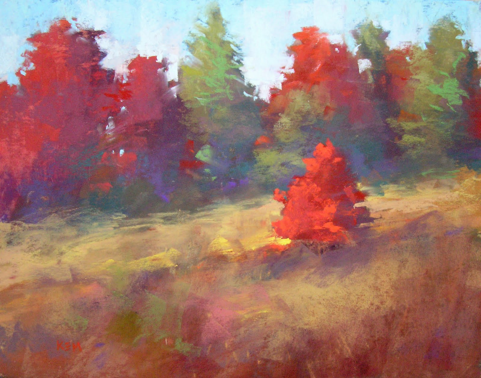 painting my world autumn color pastel landscape painting 11x14 sold