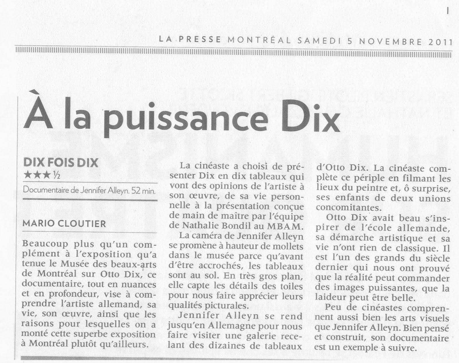 Article paru dans La Presse