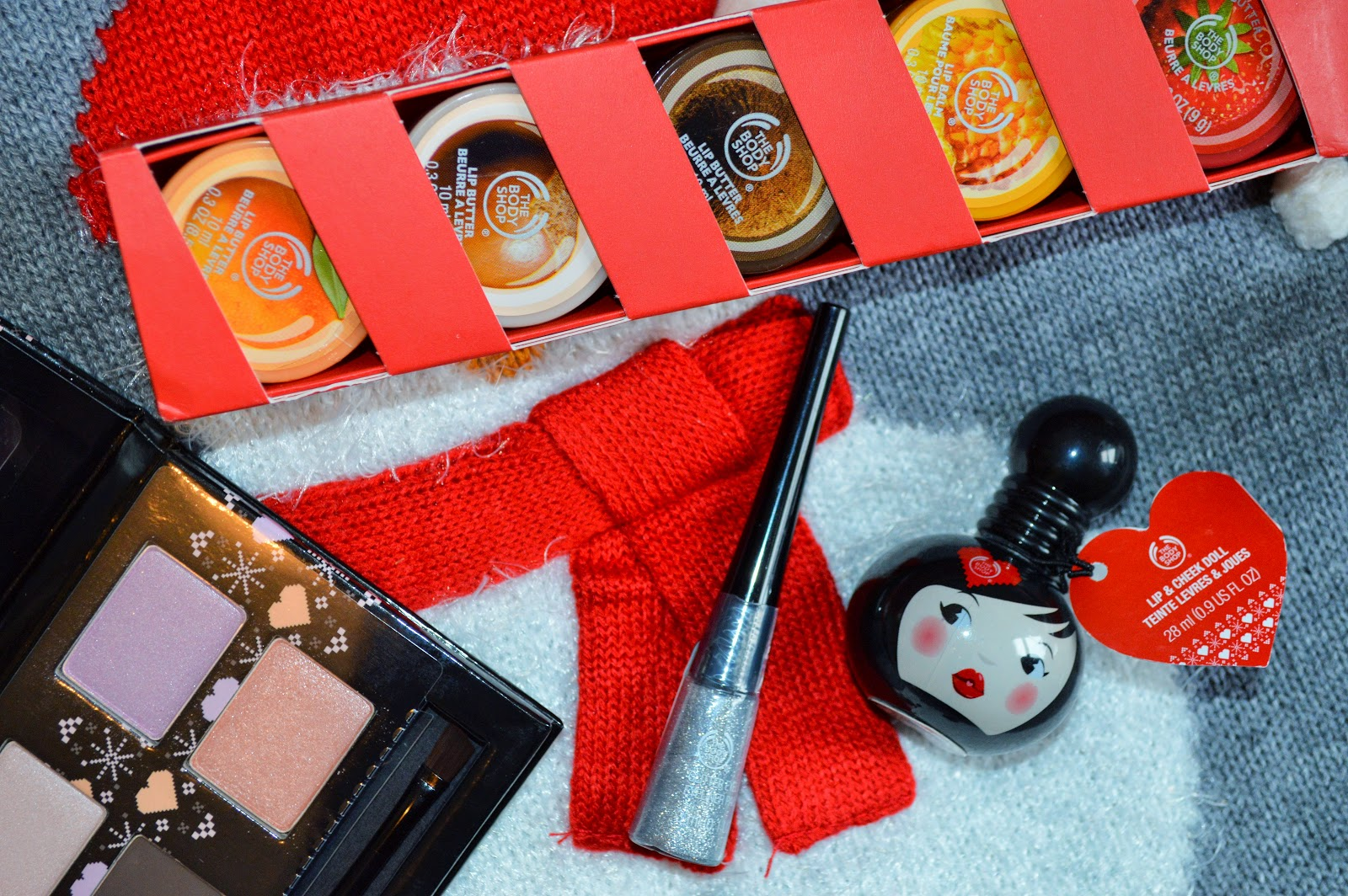 The Body Shop Candy Kisses, Dolly Pastels Eye Palette, Glitter Eyeliner and Lip & Cheek Doll