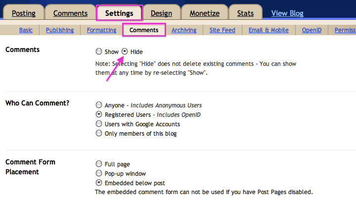 Blogger comment settings.