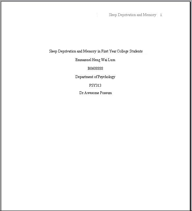 Apa format term paper title page The creative writing coursebook