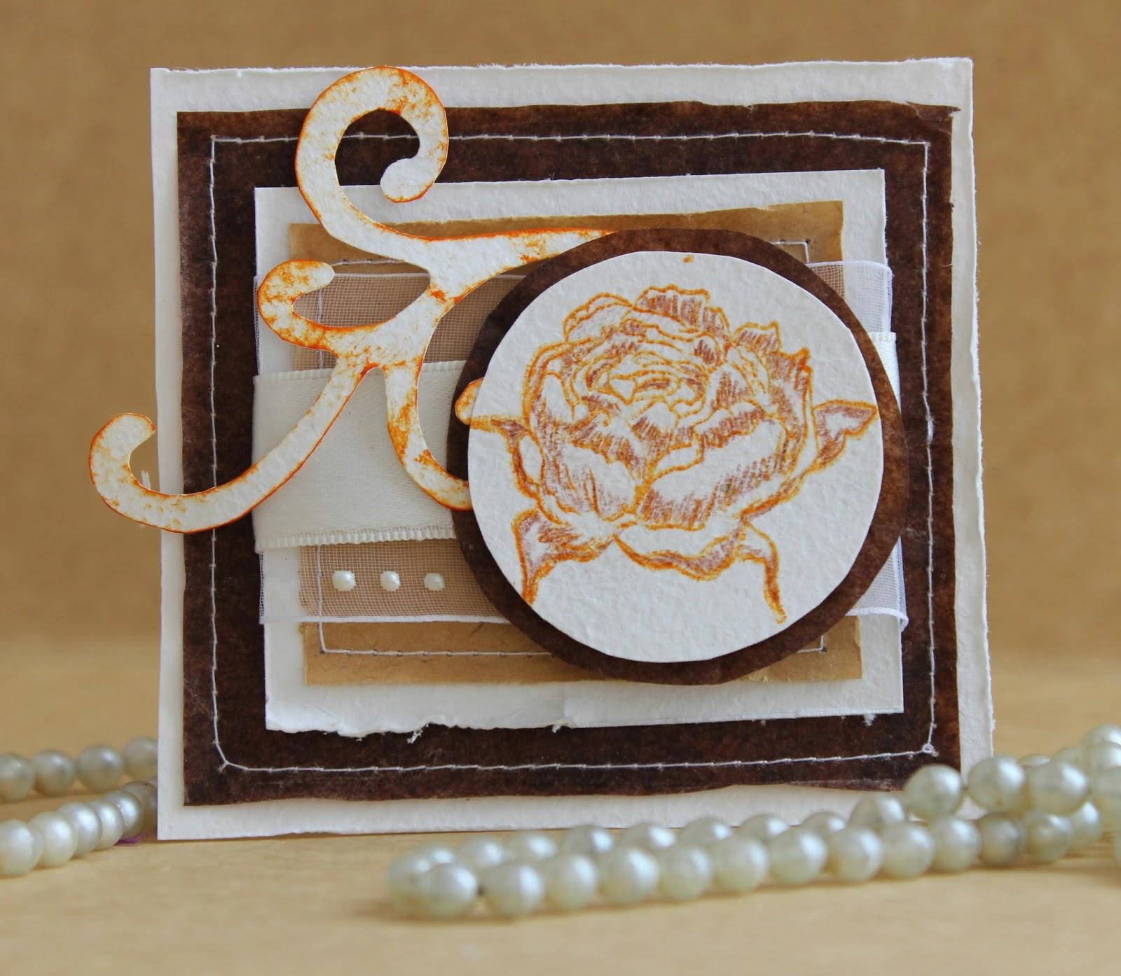 открытка, цветы, крафт
