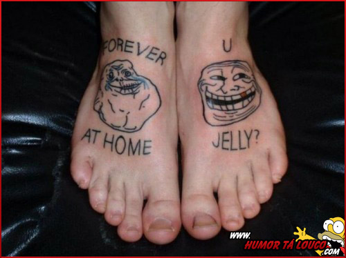 Tatuagens de Memes - Forever Alone - TrollFace - Pé