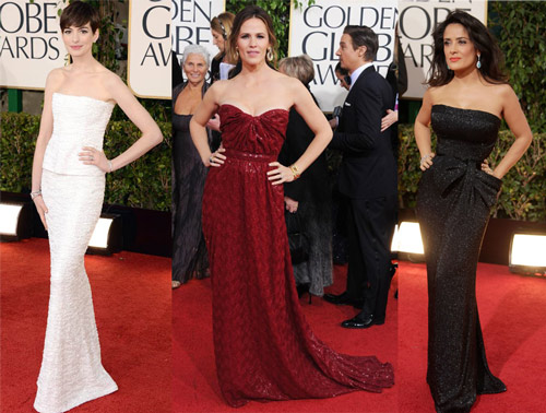Anne Hathaway (Chanel Couture), Jennifer Garner (Vivienne Westwood Couture) and Salma Hayek (Gucci Première)
