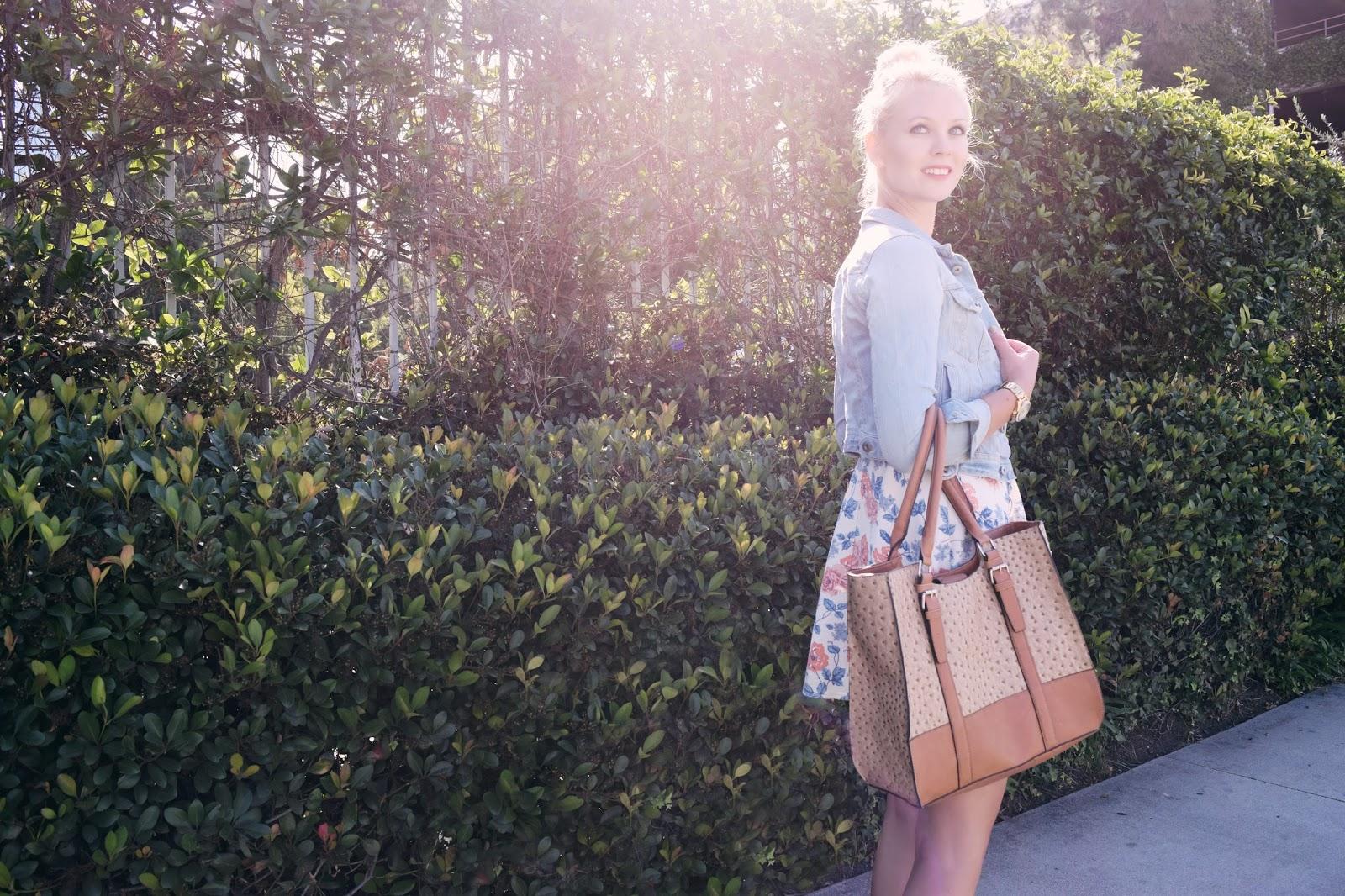 summer dress, floral dress, jeans jacket