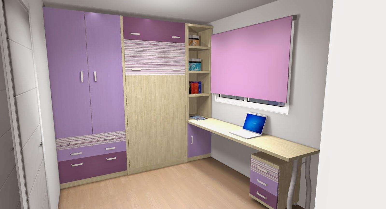 Como ahorrar espacio con camas abatibles para habitaciones - Habitaciones juveniles camas abatibles horizontales ...