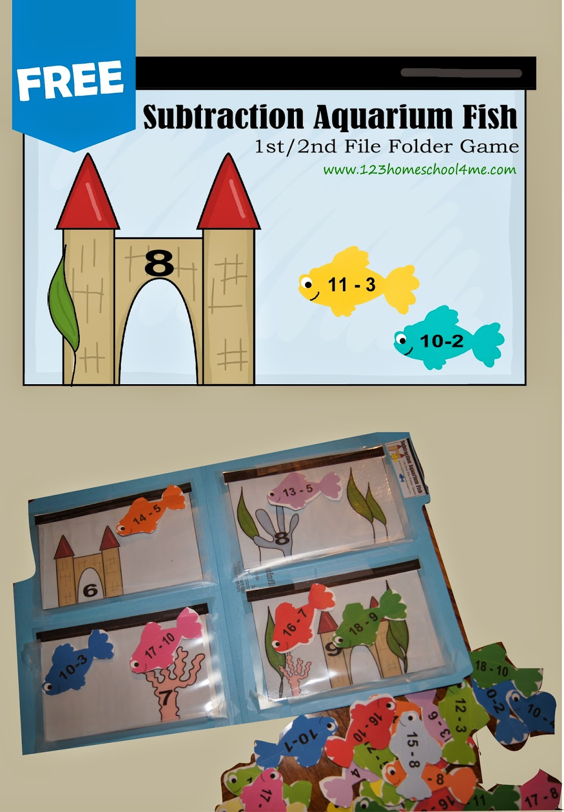 ... math games for 1st grade and 2nd grade kids with a Aquarium fish theme