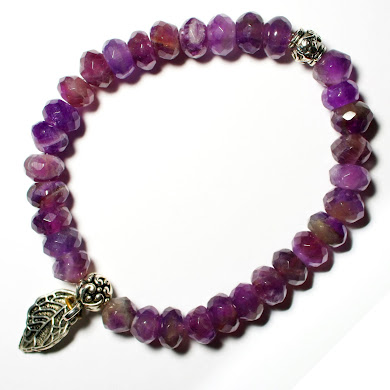 Amethyst Double bracelet with Leaf