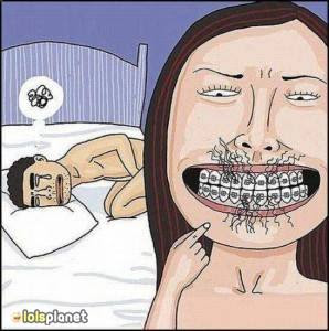 funny couple comics, funny incidents with couple on bed . Why boys don't like girl wearing braces