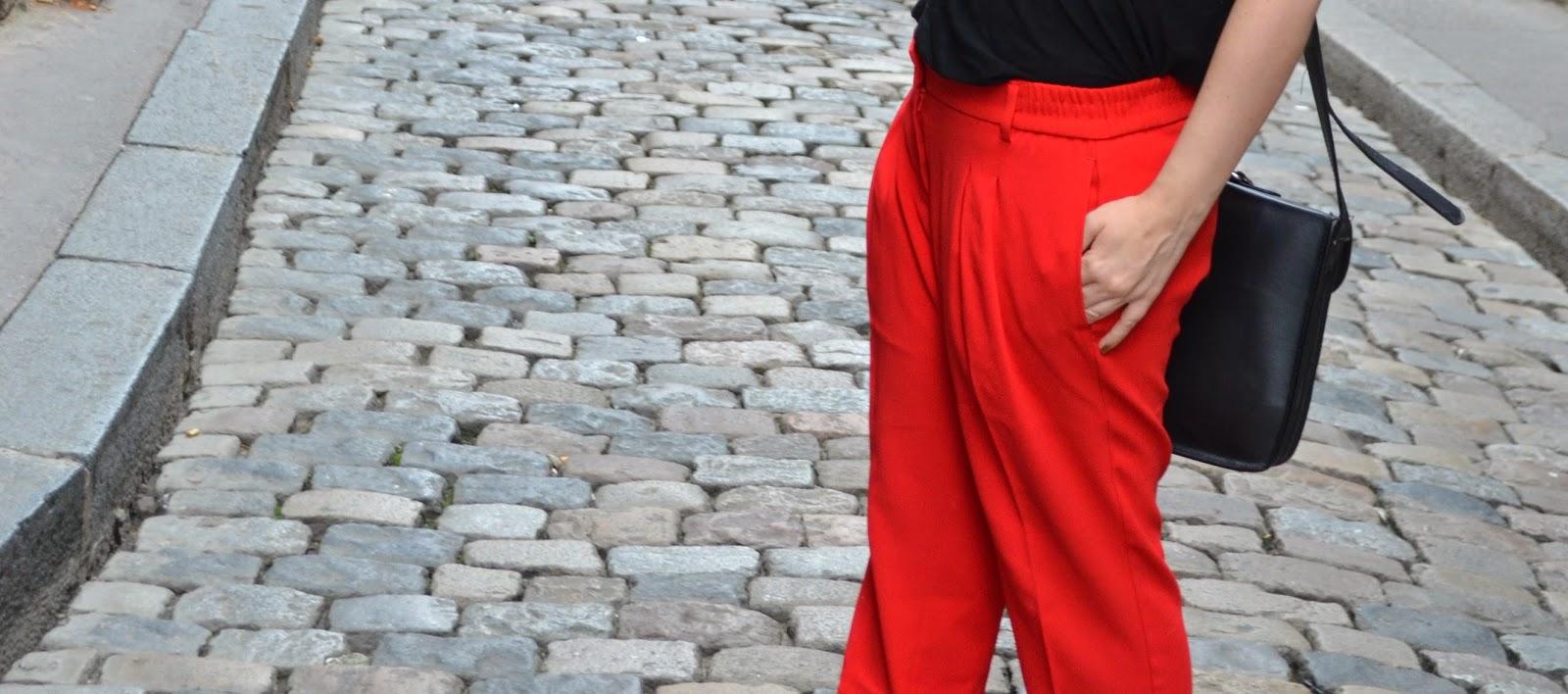 pantalon rouge mango