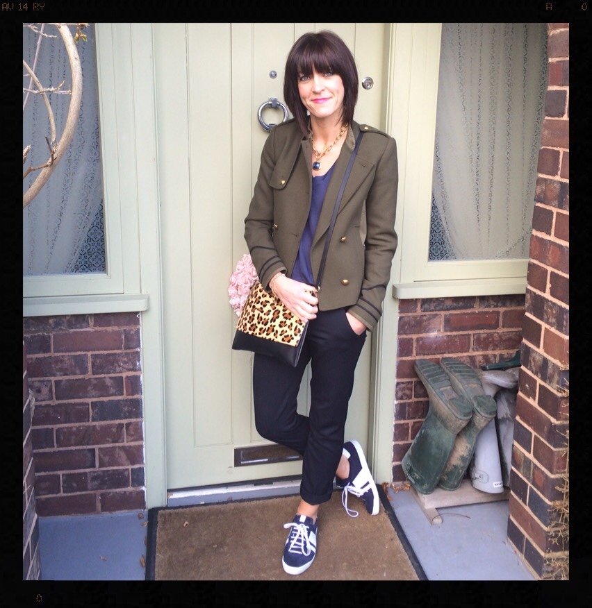 khaki, animal print, leopard print, trainers, army jacket, military jacket, My Midlife Fashion, Mango, Zara