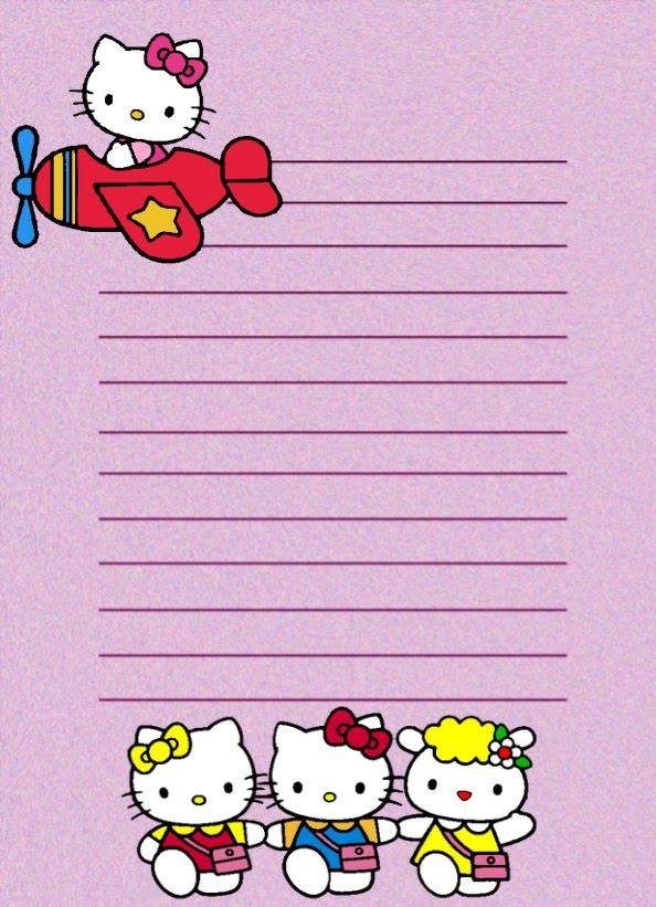 Papel de carta hello kitty en avioneta papel para cartas - Papel infantil para pared ...