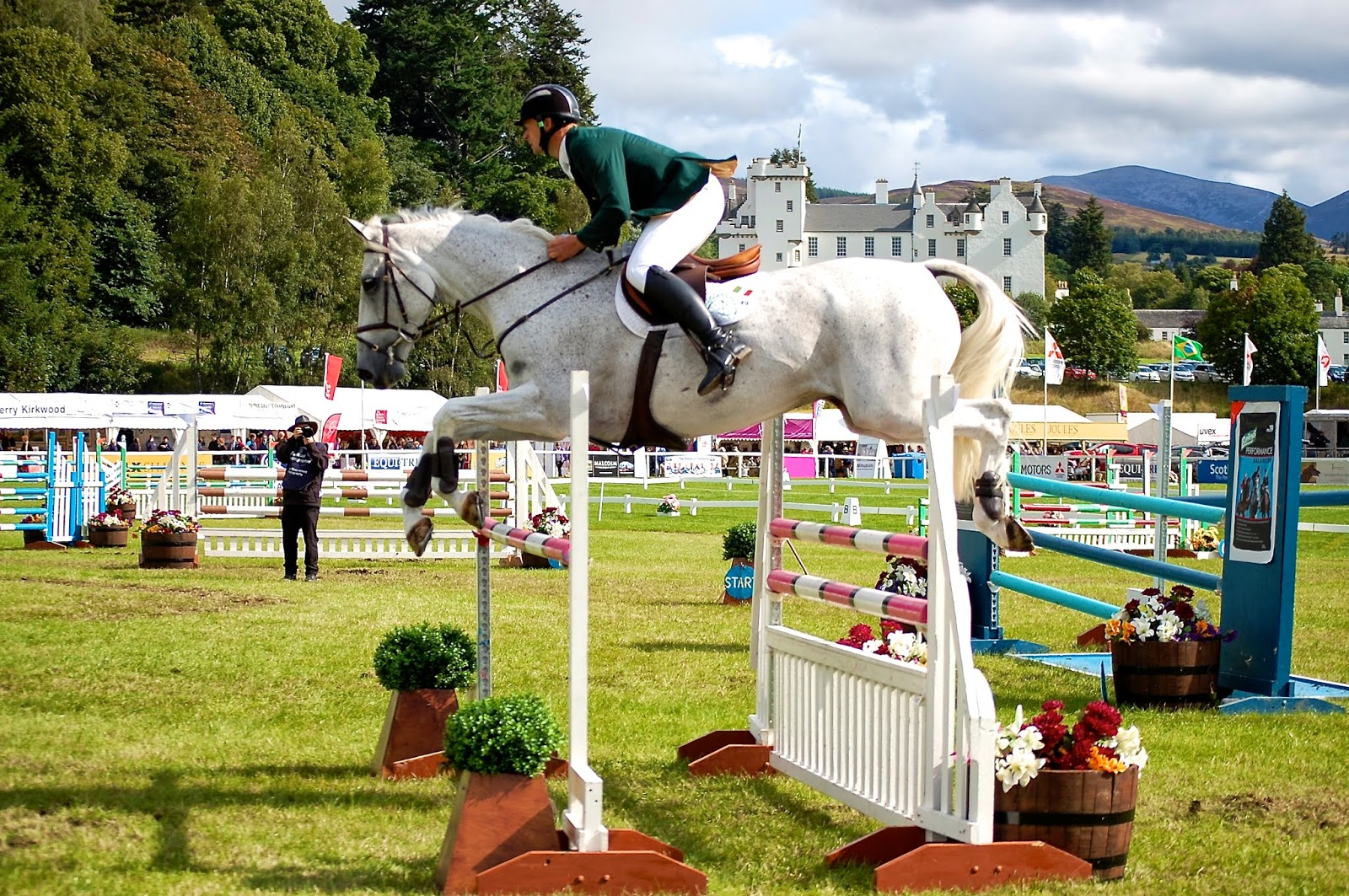 Blair Castle as the backdrop for show jumping