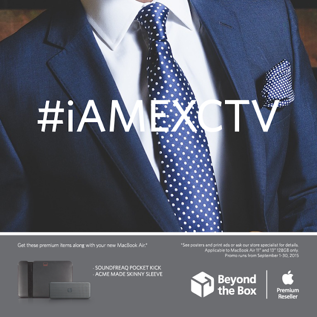 Driven to succeed, a paragon of excellence #iAMEXCTV  Bundle inclusions: MacBook Air + Soundfreaq Pocket Kick, ACME Made Sleeve