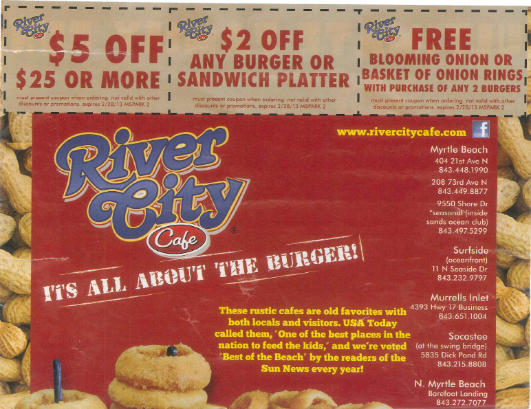 River City Cafe Myrtle Beach Sc Coupons