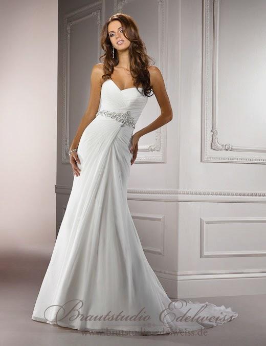 Griechische Göttin Stil  Brautkleid aus Chiffon ohne Träger. leichte Brautkleider.