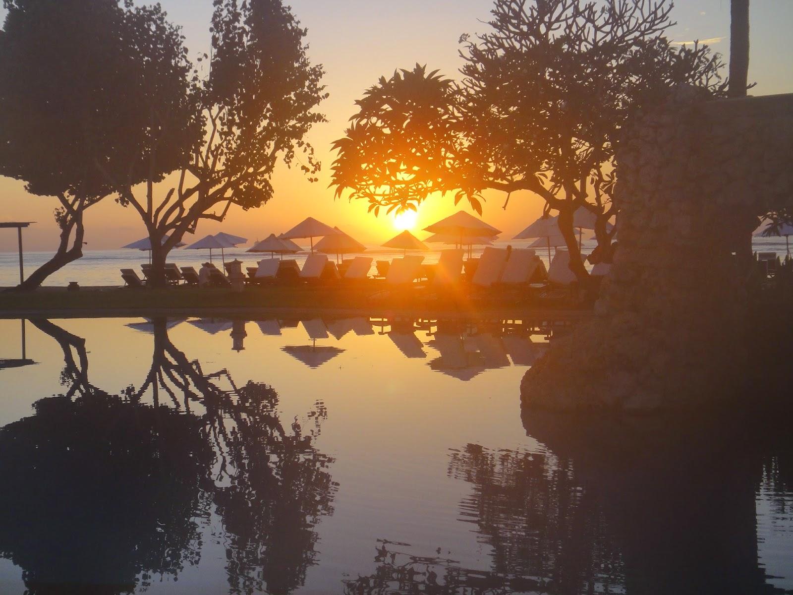 Sunrise at Aston Tanjong Benoa swimming pool Bali Island