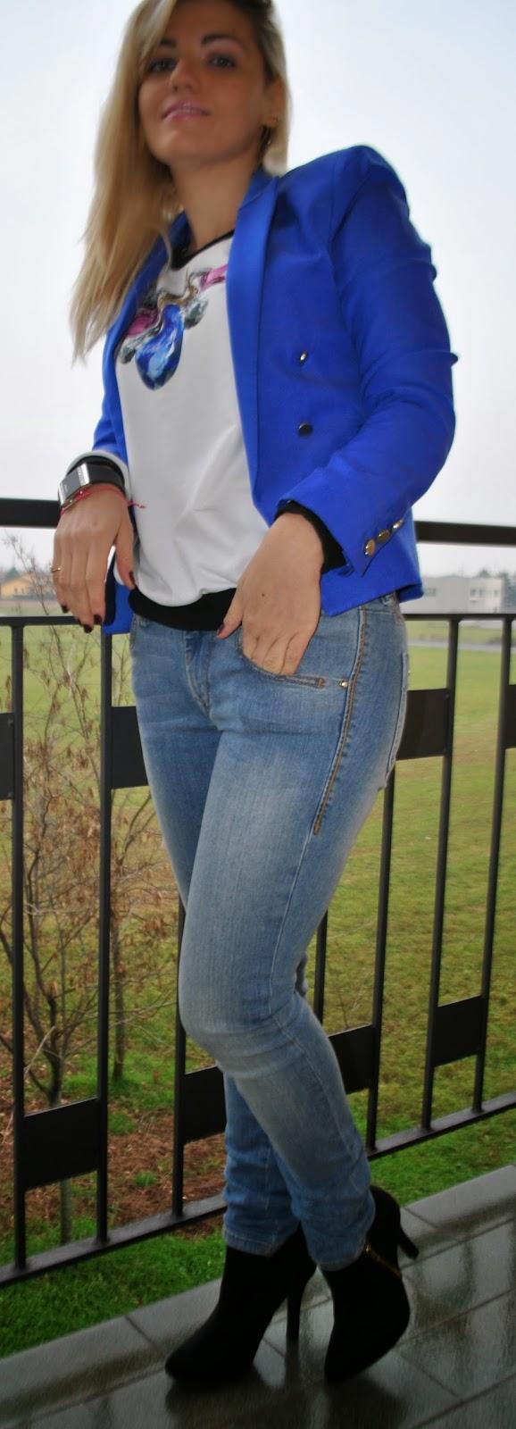 outfit jeans fornarina felpa con stampa diamante giacca mango orecchini stroili oro bracciale sara greco gioielli orologio avatar by zoppini outfit casual come abbinare la felpa fashion blogger italiane milano abbinamenti jeans e tacchi giacca blu abbinamenti giacca blu come abbinare la giacca blu abbinamenti jeans e felpa outfit felpa  stampa diamante gaelle bonheur